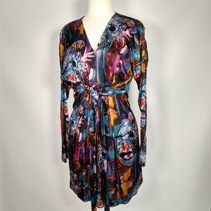 Custo silky graphic print dress drapey S